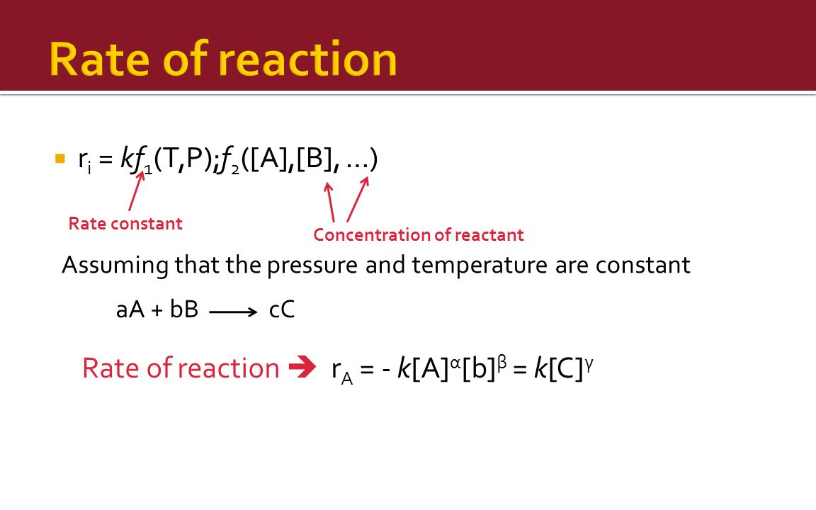 Rate of reaction ri = kf1(T,P);f2([A],[B], …)